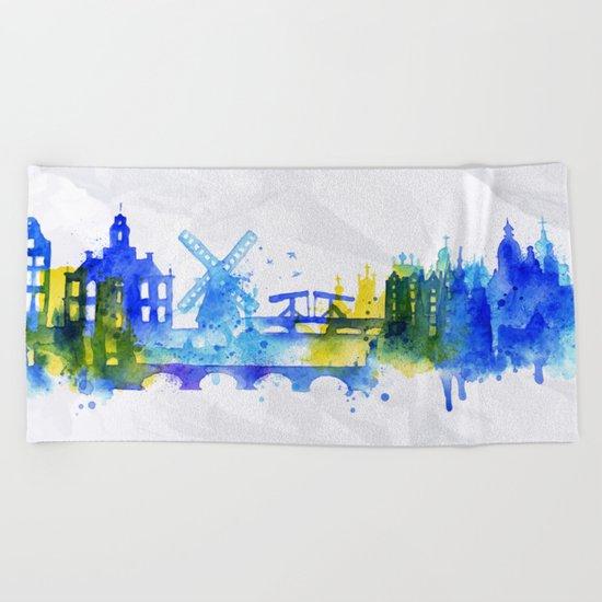 Color Amsterdam Skyline 01 Beach Towel