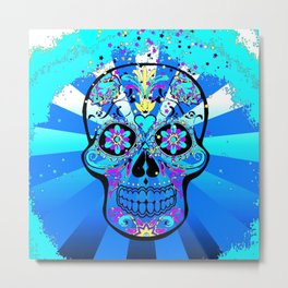 Psychedelic PopArt Skull, blue Metal Print
