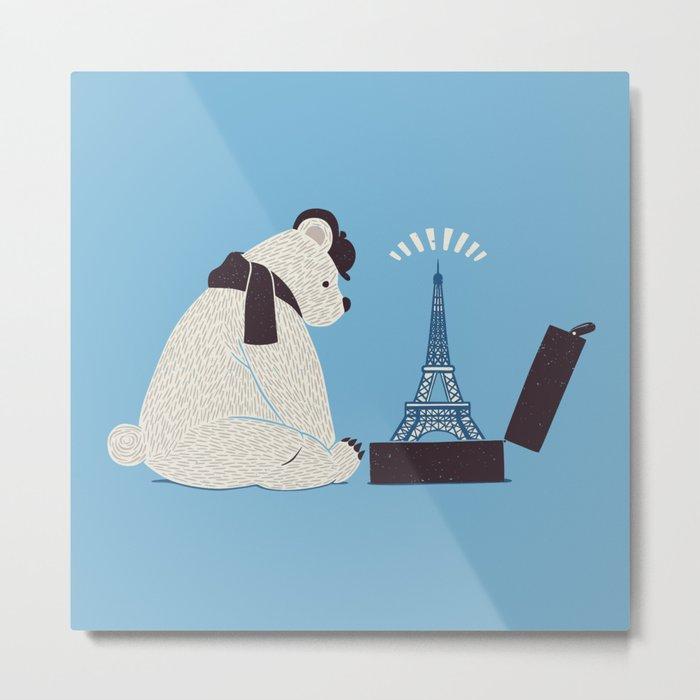 Traveler Tourist Eiffel Tower Bear Paris Metal Print