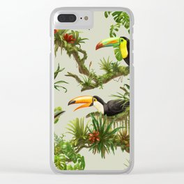 Toucans and Bromeliads (Canvas Background) Clear iPhone Case