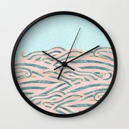 Venetian Waves // Vintage Abstract Pink Blue and Gold Summer Illustration Digital Beach Wall Decor Wall Clock