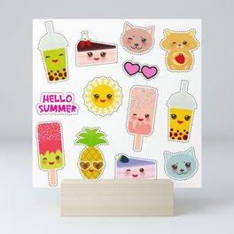 Hello Summer. Pineapple, cherry smoothie cup, ice cream, sun, cat, cake, hamster. Kawaii cute face. Mini Art Print