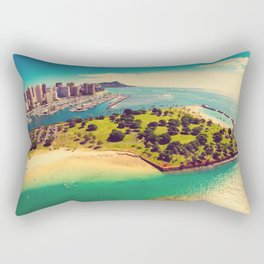 Ala Moana Beach Park, Magic Island, and Diamond Head  Rectangular Pillow