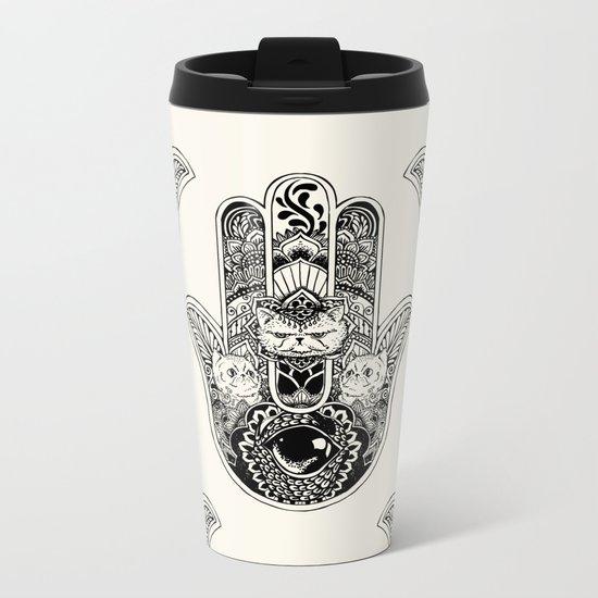 Hamsa Hand Persian Cat Metal Travel Mug