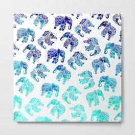 Boho turquoise blue ombre watercolor hand drawn mandala elephants pattern Metal Print