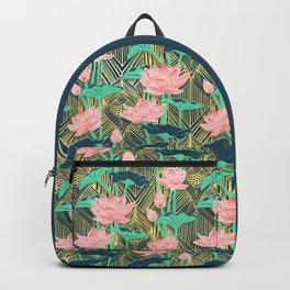 Art Deco Lotus Flowers in Peach & Emerald Backpack