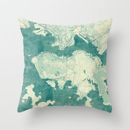 Hong Kong Map Blue Vintage Throw Pillow