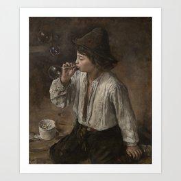 Heyerdahl, Hans (1857-1913) Boy blowing bobbles (1882) Art Print