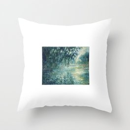 1898-Claude Monet-Morning on the Seine- 73 x 91 Throw Pillow
