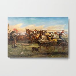 Classical Masterpiece 'The Oklahoma Land Rush' by John Steuart Curry Metal Print