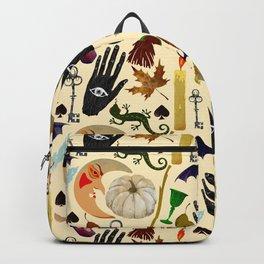 Halloween seamless pattern with pumpkin, mystic moon, candle, black hands, bats, lizard, besom, poti Backpack