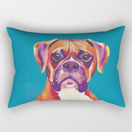 Boxer Face Blue boxer dog breed funny dog animals pets Rectangular Pillow