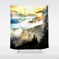 mountains Shower Curtains featuring Sunrise mountains by 2sweet4words Designs