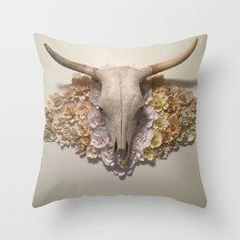 Bohemian Southwestern Steer Skull with Flowers Throw Pillow