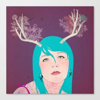 antlers Canvas Prints featuring Antlers by karolindie