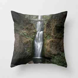 Iconic Multnomah Falls in the Columbia River Gorge of Oregon Throw Pillow