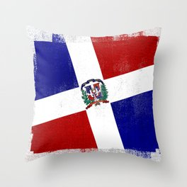 Dominican Republic Distressed Halftone Denim Flag Throw Pillow