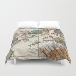 Old Constellation Map Year 1693 Duvet Cover