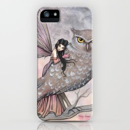 Friendship Fairy and Owl Autumn Fantasy Art by Molly Harrison iPhone Case