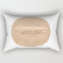 Airship in graphic style. Beige colors.  Rectangular Pillow