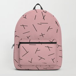 Abstract criss cross stripes irregular minimal lines pink Backpack