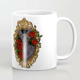 Hairless Black Sphynx Cat in a Gold Baroque Frame Surrounded by Red Roses - Tattoo Style Animal Line Illustration Coffee Mug