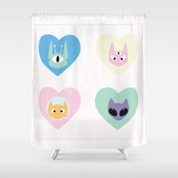 outer space Shower Curtains featuring Outer Space Cats  by gracekansai
