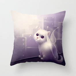 kitten with wings Throw Pillow