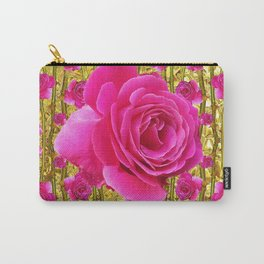 """FUCHSIA PINK """"ROSES & THORNS""""  GOLD ART  ROSE  PATTERNS Carry-All Pouch"""