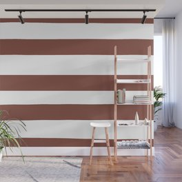 Inspired by Dunn Edwards Spice of Life DET439 Hand Drawn Fat Horizontal Lines on White Wall Mural
