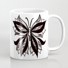Abstract Butterfly Stipple Shaded Ink Drawing Coffee Mug