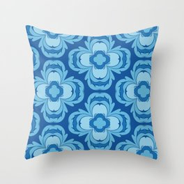 Porcelain Flowers in Blue Throw Pillow