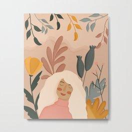 Girl in autumn garden Metal Print