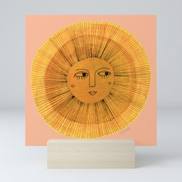 Sun Drawing Gold and Pink Mini Art Print