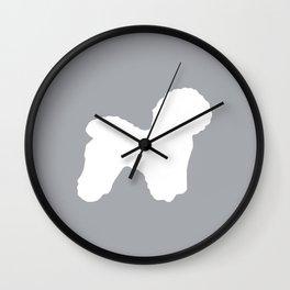 Bichon Frise dog grey and white minimal pet art dog breeds silhouette Wall Clock