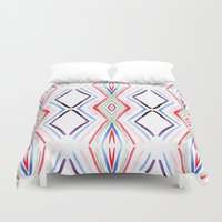 aqua Duvet Covers featuring Aqua by FakeFred