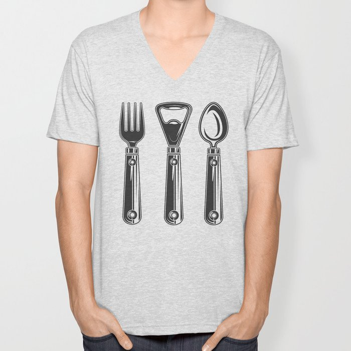 Life set. Lover to eat. Hungry. Glutton. Food Lover. Spoon and a fork. Heavy eater. Eat. Food. Unisex V-Neck