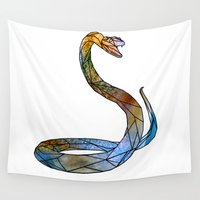 snake Wall Tapestries featuring snake by madbiffymorghulis