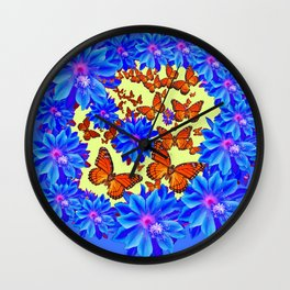 Orange Butterflies Blue  Floral Wreath art Wall Clock