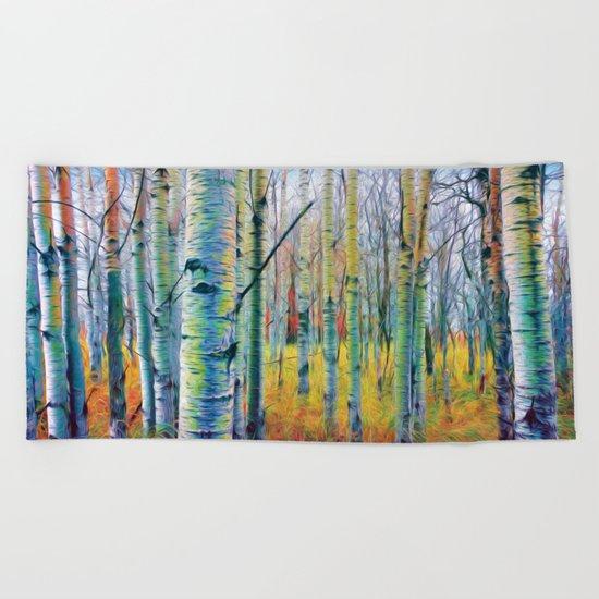 Aspen Trees in the Fall Beach Towel