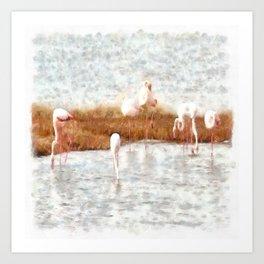 Seven Flamingos A Feeding Watercolor Art Print