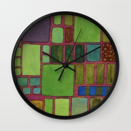 Collection of Rectangles with Blue Striped Staff Wall Clock