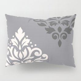 Scroll Damask Art I Cream & Grays Pillow Sham