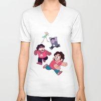 steven universe V-neck T-shirts featuring Steven Universe- Steven Tag by merrigel