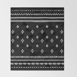 Rhombus & Lines White on Black Throw Blanket