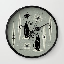 Mid Century Meow Retro Atomic Cats - Gray Wall Clock