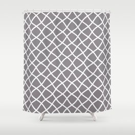 Light gray and white curved grid pattern Shower Curtain