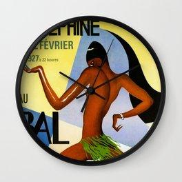 1920's Paris France Josephine Baker Jazz Revue Bal Negre Poster Wall Clock