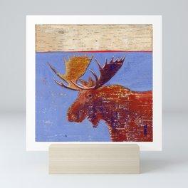 moose with birch bark Mini Art Print
