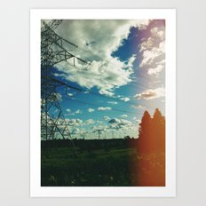 Hydro lines, forest Art Print